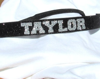 Personalized Glitter Sport Adjustable Headband with Non-Slip Velvet Backing for Cheer, Softball, Volleyball, Soccer or Dance - 10 Colors