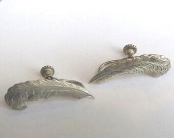 Vintage Sterling Silver Leaf Screwback Earrings