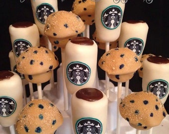 STARBUCKS coffee and Cinnamon Roll, Blueberry muffin or variety donuts cake pops