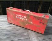 Fantastic Rustic Red Sawzall Metal Tool Box, Garage, Tool Tote, Man Cave, Art Supply, Storage, Rustic Industrial Home Decor, Industrial Chic