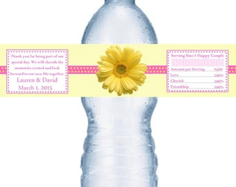 98 Yellow and Pink Daisy Wedding Water Bottle Labels