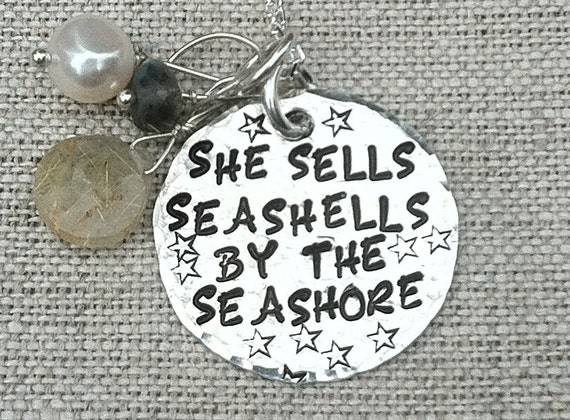 "Sterling ""She Sells Seashells By The Seashore "" Trimmed with a Gemstone Dangle on a Sterling Chain"