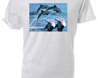 Bottlenose Dolphins Wildlife classic round neck short sleeved T shirt choice of sizes and colours