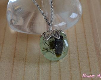 Raw Prehnite pendant with steel necklace #2