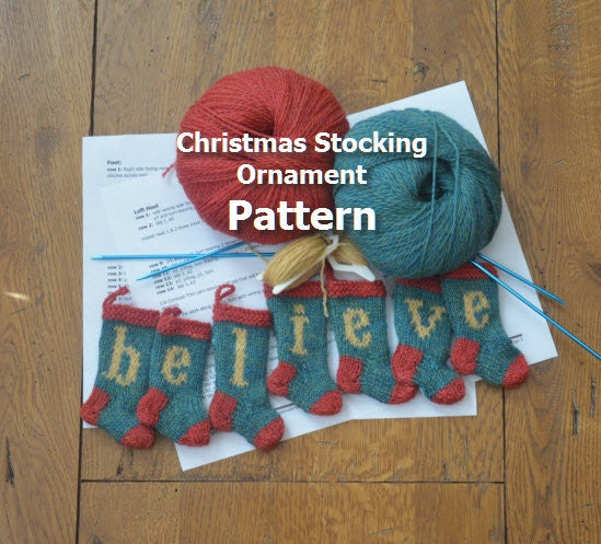Believe christmas stocking ornament knitting pattern