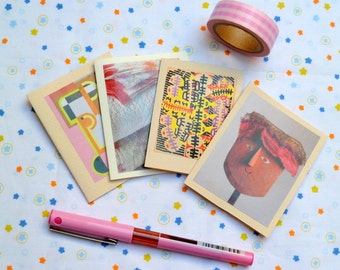 Set of 4 mini handmade cards, OOAK, with kraft envelopes. Pink. Gift notes. Thank you notes. Tiny gifts. Ecofriendly. Scrapbooking.