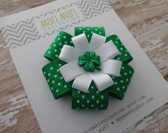St. Patrick's Day Hair Bow - Green White Shamrock - Shamrock Hair Clip - St. Patty's Hair Accessory - Shamrock Hair Bow -Green Shamrock Bow