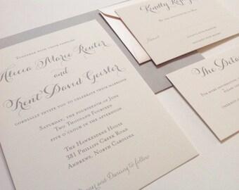 Wedding Invitation - Printed Wedding Invitation Suite - Romantic Chic Calligraphy Lux - SAMPLE
