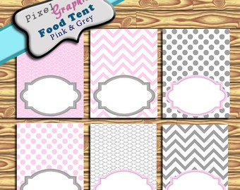 Food Tent Cards Pink Grey blank Printable Party Decoration Birthday Buffet Labels
