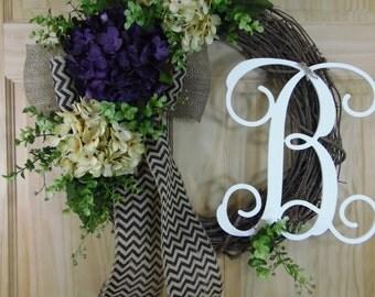 spring wreath - boxwood wreath - monogram wreath - hydrangea wreath - mothers day wreath - housewarming