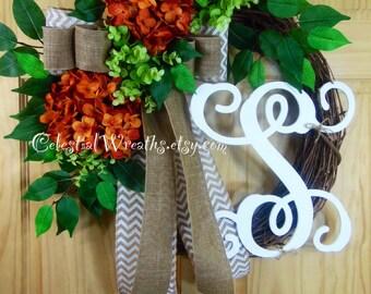 spring Wreath - personalized wreath - hydrangea wreath - summer wreath - wreath - mothers day