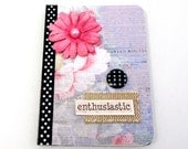 Enthusiastic Mini Journal - Mini Notebook - Lavender and Vivid Pink - Black and White Polka Dots - Burlap Accent - Shabby Chic Flower