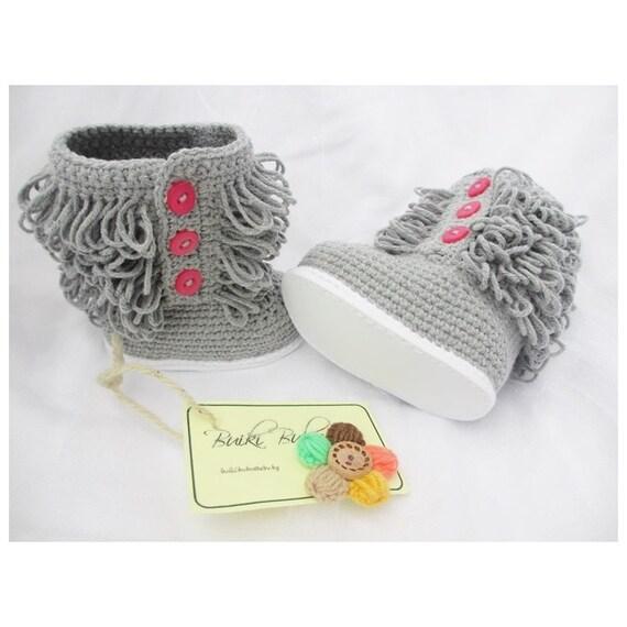 Crochet Ugg Boots : Crochet Ugg inspired Baby booties, Crochet Baby Boots, Gray Baby Shoes ...