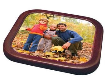 Personalized Square Coaster Insert w/ Mahogany Finish Holder