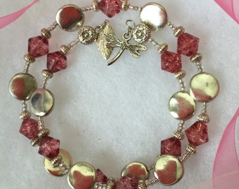 Rose and Silver Memory Wire Bracelet