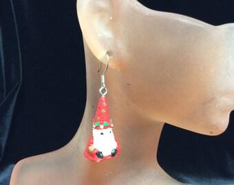 Vintage Santa Claus Christmas Dangle Earrings