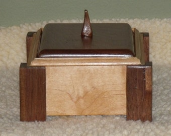 Handmade Trinket, Jewelry Box, reclaimed wood box, made of reclaimed/recycled Walnut and Maple Wood