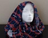 FI04: Fabric Infinity Scarf (Bears, Flannel) FREE SHIPPING