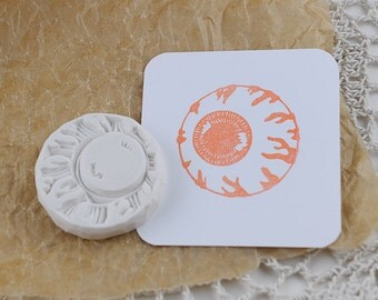Hand carved  rubber Stamp/  eye