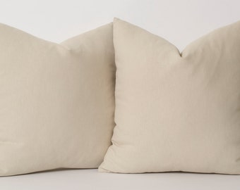 Beige Linen Pillowcase - Custom Sizes Decorative Throw Pillow Cover Accent Pillow Couch Sofa Beige Pillow Covers