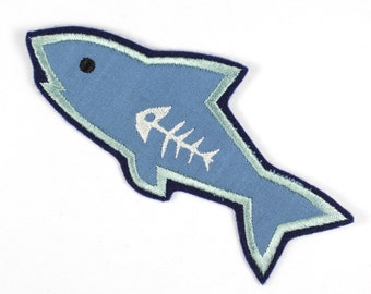 Patch applique iron-on patches fish shark Babak 13,5 x 6cm | 5.31 x 2.36 inches