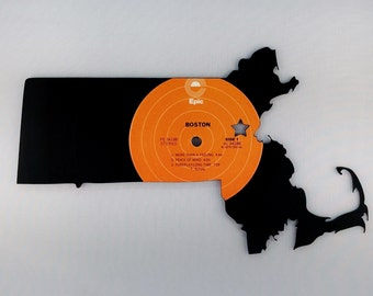 Recycled Vinyl Record BOSTON MASSACHUSETTS Wall Art