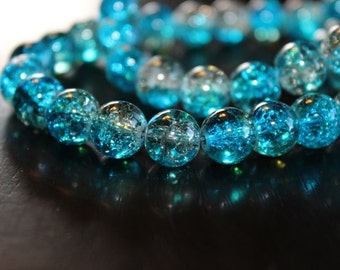 80 approx. aqua and clear with light coffe, 10 mm crackle glass beads, 1.5mm hole