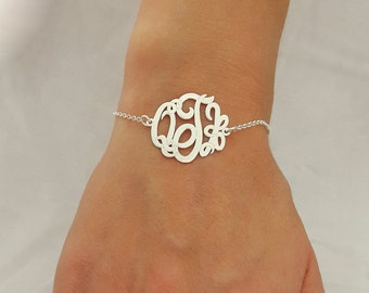 3 Initials Monogram Bracelet 1 inch - Personalized Jewelry - 925 Sterling Silver - With any initials you wish