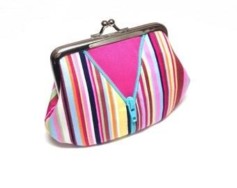 Pink stripe coin purse