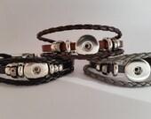 Popper Snap Style Leather Braided Bracelet.