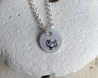 Vegan jewellery - cow necklace - calf jewelry - cow necklace - animal rights jewellery - animal jewellery - handstamped