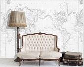 """Vintage Illustration Mural , World Map, Vintage Structure, Vintage Illustration - 108"""" x 88"""""""