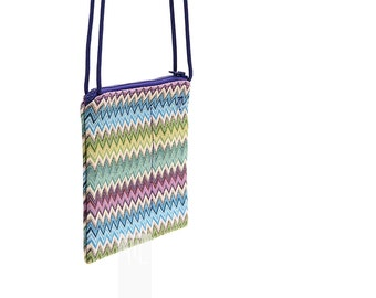 Crossbody bag in violet, azure and green shades zigzag pattern Gobelin with purple paracord shoulder strap.