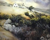 "Art print | Gorse on Pembrokeshire coast path | Copy of watercolour by Helen Lush | 7.5"" x 10.5"" 