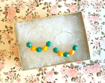 Orange and green colors beads earrings, beaded hoops