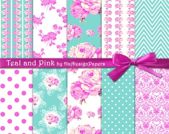 "Shabby chic digital paper : ""Teal and Pink"" turquoise and hot pink digital paper, teal floral digital paper with pink roses, damask and lace"