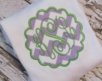 Personalized Baby Chevron Scallop Monogram Applique bodysuit or Shirt Baby Girl FREE MONOGRAM
