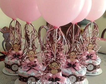 Girl Monkey Baby Shower Diapers Centerpiece with Balloon, Diaper Cake, Diaper Cakes,