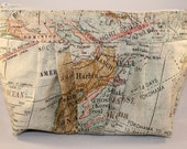 Vintage Maps Zippered Clutch
