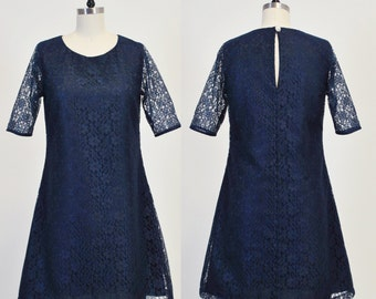 Duchess (Navy) : Navy lace shift dress, keyhole back, swarovski crystal pearl button, vintage inspired, party, day, bridesmaid