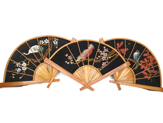 Wood and cloth asian fan painted flowers and birds bamboo and linen