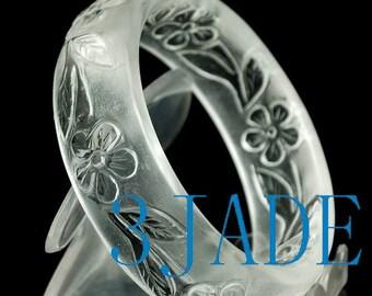 58mm Hand Carved Natural Clear Rock Crystal Quartz Flower Bangle Bracelet  -CZ00118A