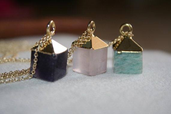Semiprecious stone pendant cube necklace, amazonite, amethyst and rose quartz semiprecious pendant stones with sterling silver chain
