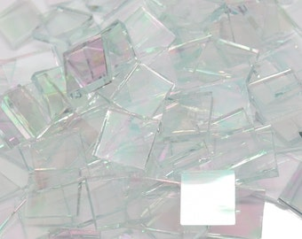 Clear Iridescent Waterglass Hand Cut Stained Glass Mosaic Tiles - #34