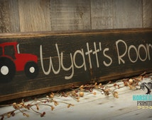 Custom Personalized Case IH Red Tractor Handcrafted Wood Sign