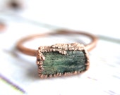 Raw tourmaline ring   Green tourmaline crystal ring   Electroformed tourmaline ring   Raw stone ring   Raw tourmaline jewelry