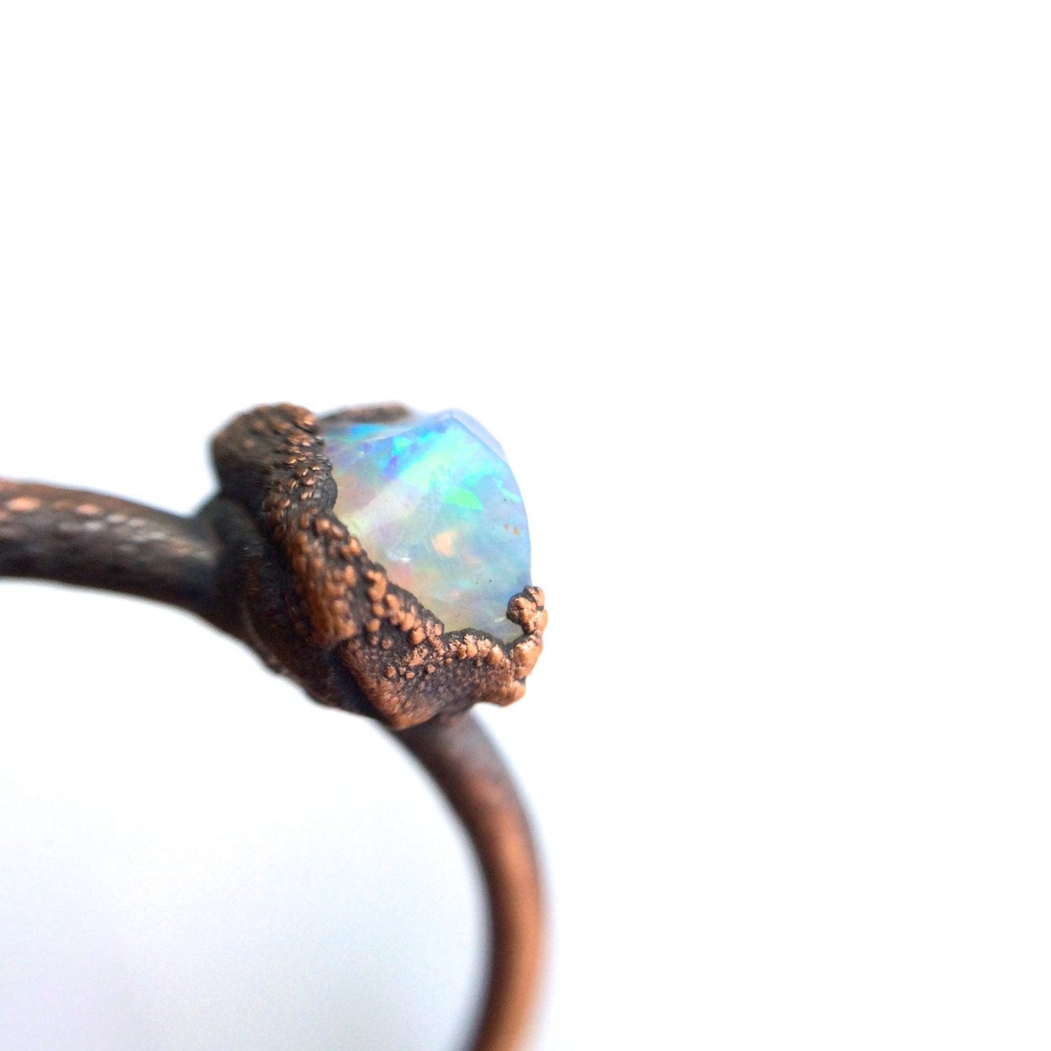 Opal Engagement Ring Raw Opal Stone Ring Rough Opal Ring