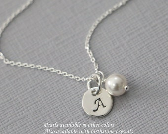 Custom Initial Necklace, Sterling Silver Initial Charm and Swarovski Pearl on Sterling Silver Necklace Chain