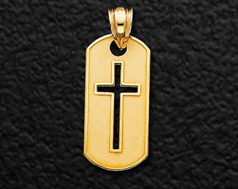 14K Yellow Gold Cross Dog Tag Pendant, Cross Pendant, Dog Tag Pendant, Dog Tag Cross Pendant, Dog Tag, Cross Jewelry, Religious Jewelry