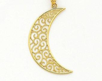 14K Yellow Gold Filigree Moon Pendant, Filigree Pendant, Moon Pendant, Moon Jewelry, Filigree Jewelry, Crescent Moon, Gold Moon